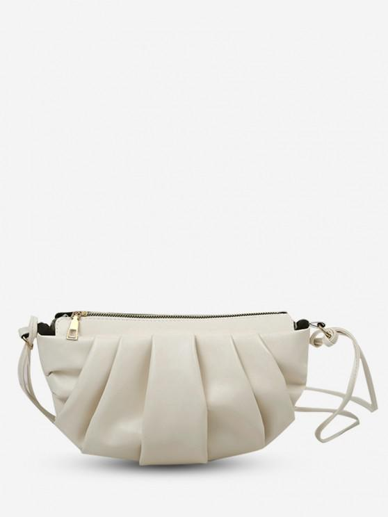 shops Semicircle Pleated Skinny Strap Crossbody Bag - CRYSTAL CREAM