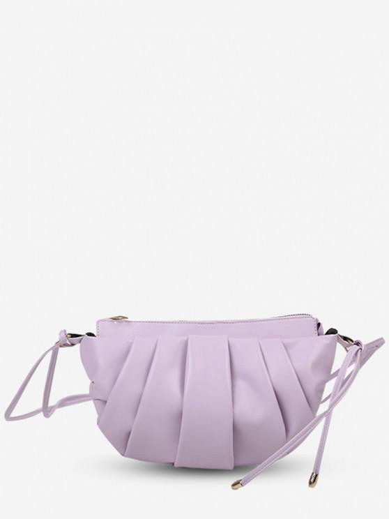latest Semicircle Pleated Skinny Strap Crossbody Bag - LIGHT PURPLE