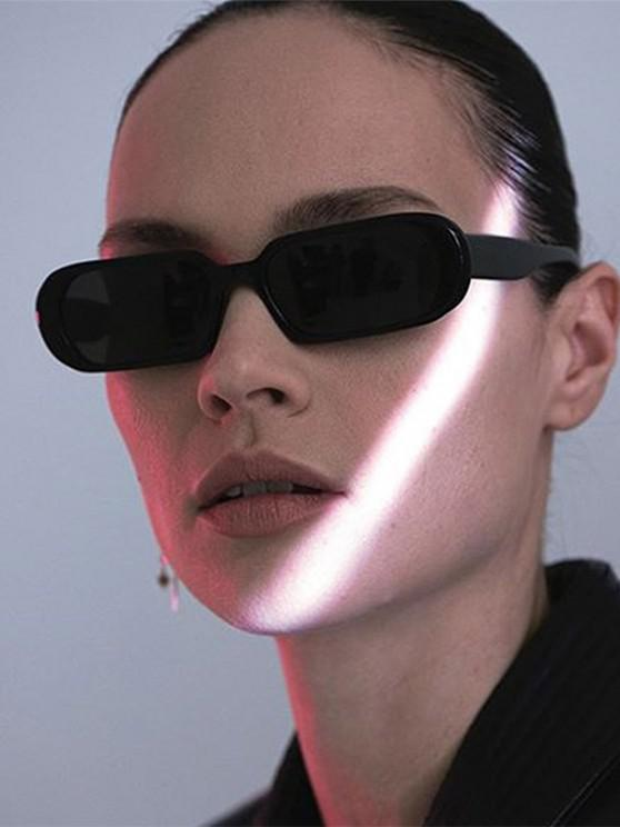 women Narrow Oval Outdoor Sunglasses - BLACK
