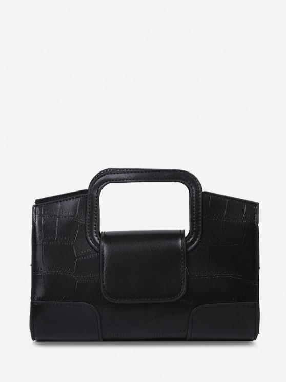 latest Embossed Cut Out Dual Handle Crossbody Bag - BLACK
