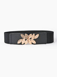 Engraved Leaf Buckle Wide Elastic Belt - Black