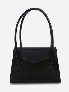 Top Handle Square Flap Tote Bag - Black
