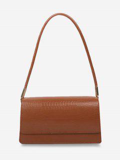 Embossed Flap Thin Strap Shoulder Bag - Light Brown