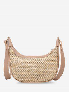 Hemp Woven Splicing Wide Strap Shoulder Bag - Khaki