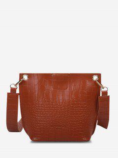 Square Embossed Wide Strap Bucket Bag - Light Brown