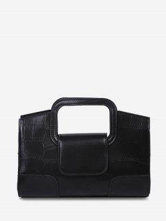 Embossed Cut Out Dual Handle Crossbody Bag - Black