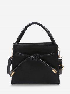 Knot Dual Handle Square Crossbody Bag - Black