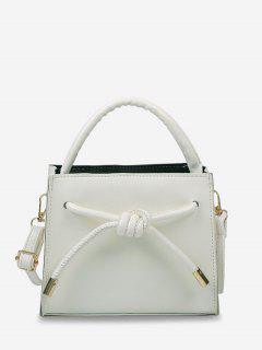 Knot Dual Handle Square Crossbody Bag - Crystal Cream