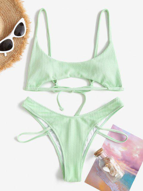 new ZAFUL Textured Ribbed Underboob Brazilian Bikini Swimwear - LIGHT GREEN M Mobile