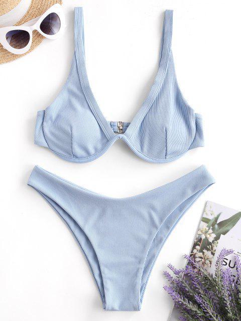 Costume da Bagno Bikini a Costine con Taglio Profondo di ZAFUL - Celeste Chiaro L Mobile