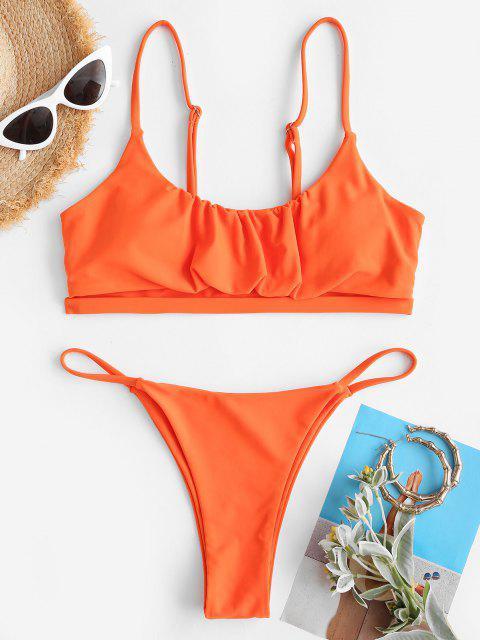 women's ZAFUL Ruched Cups Underboob Tanga Bikini Swimwear - ORANGE S Mobile