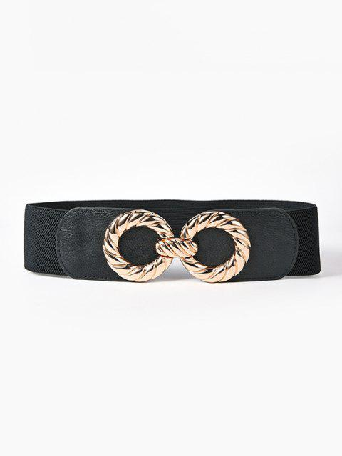 outfit Engraved Round Buckle Wide Elastic Waist Belt - BLACK  Mobile