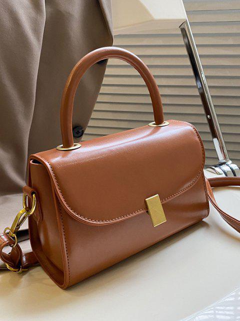 fashion Mini Dual Handle Flap Crossbody Bag - LIGHT BROWN  Mobile