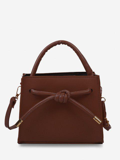 lady Knot Dual Handle Square Crossbody Bag - RED WINE  Mobile