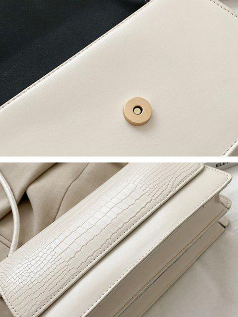 latest Embossed Flap Thin Strap Shoulder Bag - CRYSTAL CREAM  Mobile
