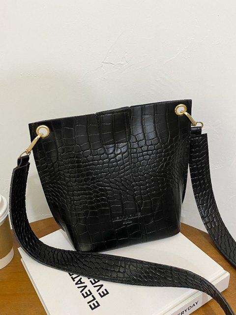new Square Embossed Wide Strap Bucket Bag - BLACK  Mobile