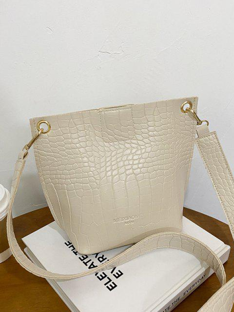 hot Square Embossed Wide Strap Bucket Bag - CRYSTAL CREAM  Mobile