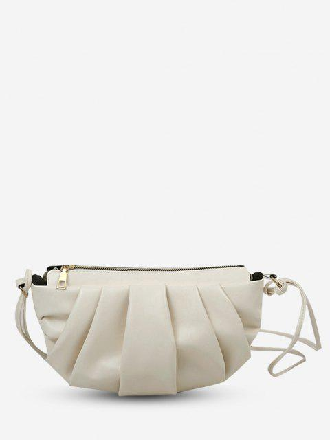 shops Semicircle Pleated Skinny Strap Crossbody Bag - CRYSTAL CREAM  Mobile
