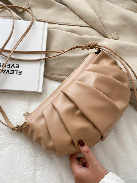 fashion Semicircle Pleated Skinny Strap Crossbody Bag - KHAKI  Mobile