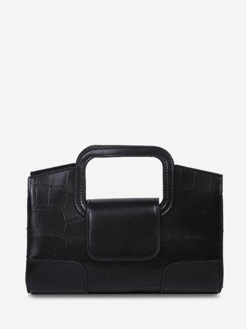 latest Embossed Cut Out Dual Handle Crossbody Bag - BLACK  Mobile