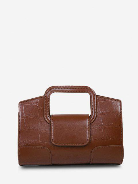 trendy Embossed Cut Out Dual Handle Crossbody Bag - DEEP BROWN  Mobile