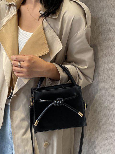 fashion Knot Dual Handle Square Crossbody Bag - BLACK  Mobile