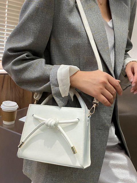 chic Knot Dual Handle Square Crossbody Bag - CRYSTAL CREAM  Mobile