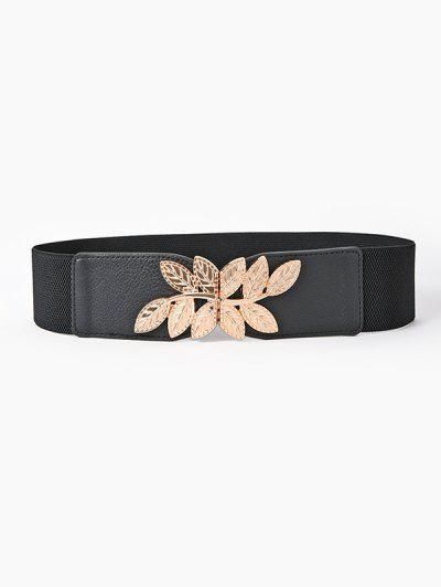 Engraved Leaf Buckle Wide Elastic Belt - Black