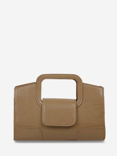 Embossed Cut Out Dual Handle Crossbody Bag - Khaki