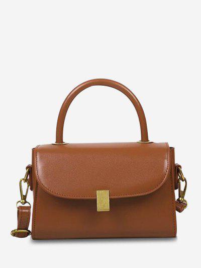 Mini Dual Handle Flap Crossbody Bag - Light Brown