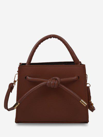Knot Dual Handle Square Crossbody Bag - Red Wine