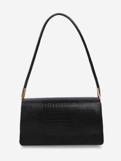 Embossed Flap Thin Strap Shoulder Bag - Black