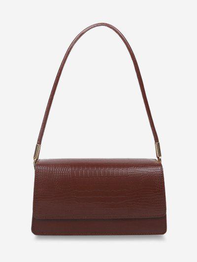 Embossed Flap Thin Strap Shoulder Bag - Deep Brown