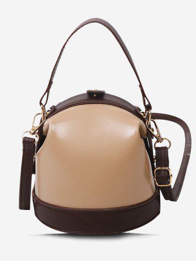 Color Contrast Dual Strap Top Snap Bucket Bag - Khaki