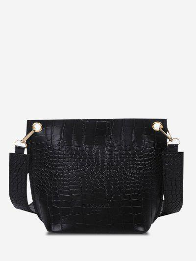 Square Embossed Wide Strap Bucket Bag - Black