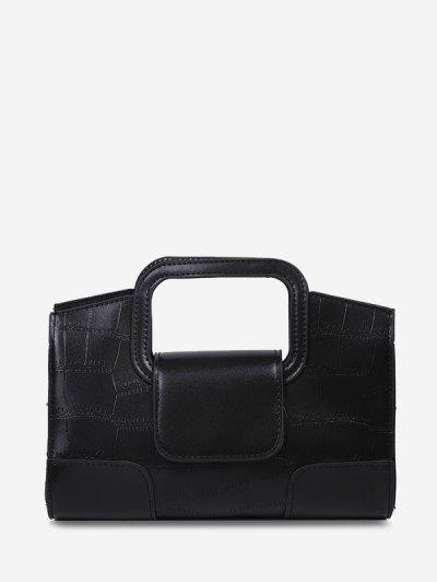 Embossed Cut Out Dual Handle Crossbody Bag - Black