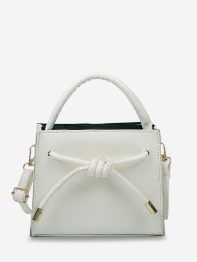 Knot Dual Handle Square Crossbody Bag - Crystal Cream