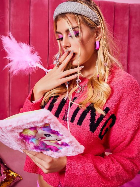 Pullover mit Hängender Schulter und Buchstabe Muster - Helles Rosa Eine Größe