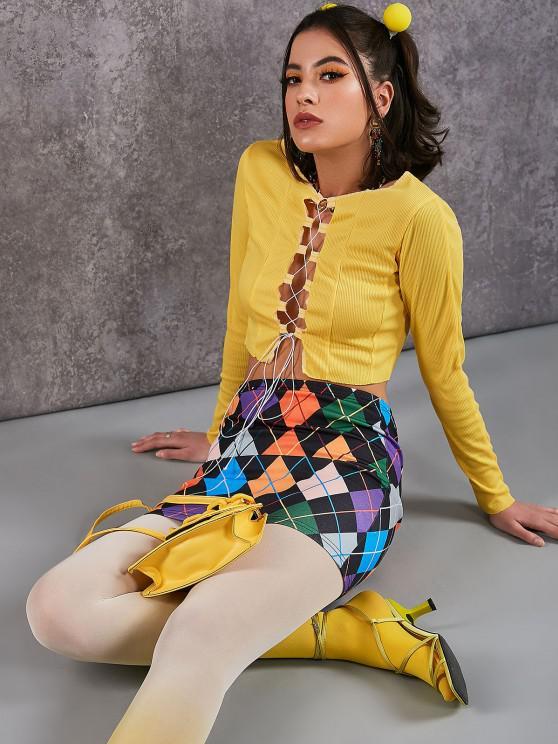best ZAFUL Colorful Argyle Print A Line Skirt - MULTI-A M