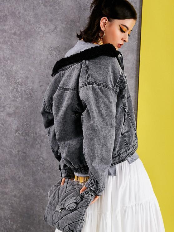 Künstliche Lammfell Gefütterte Tasche Reißverschluss Jeansjacke - Schwarz L