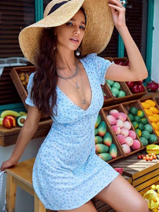 best ZAFUL Ditsy Floral Low Cut Tie Cutout Slit Dress - BLUE M