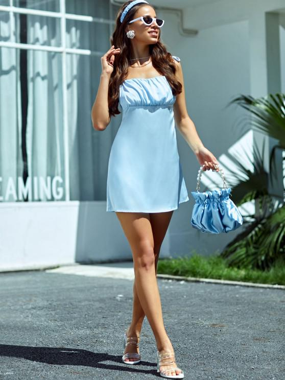 womens Silky Ruched Front Tie Shoulder Mini Dress - BLUE M