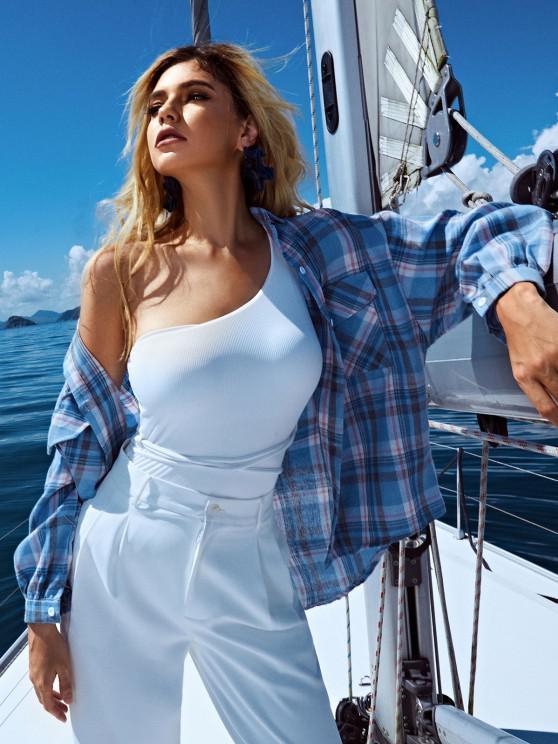 Checked Pockets Drop Shoulder High Low Shirt - لائحة الأزرق حجم واحد
