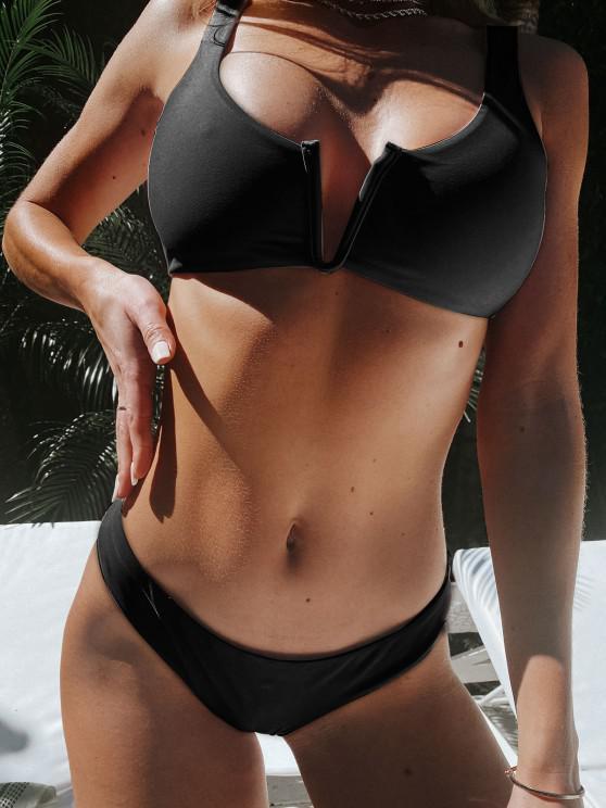 hot ZAFUL V Wired Low Waisted Tank Bikini Swimsuit - BLACK S