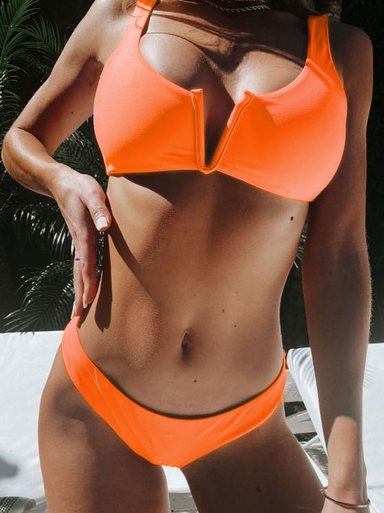 ZAFUL Ensemble de Bikini Débardeur à Taille Basse à Armature en V - Orange M