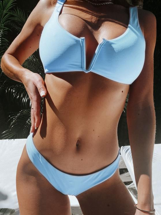outfits ZAFUL V Wired Low Waisted Tank Bikini Swimsuit - LIGHT SKY BLUE S