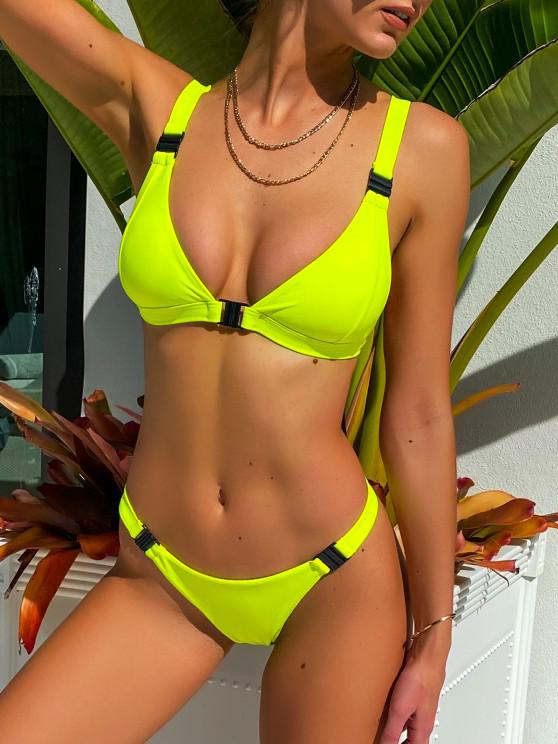 outfits ZAFUL Neon Plunge Front Closure Bikini Swimsuit - GREEN YELLOW S