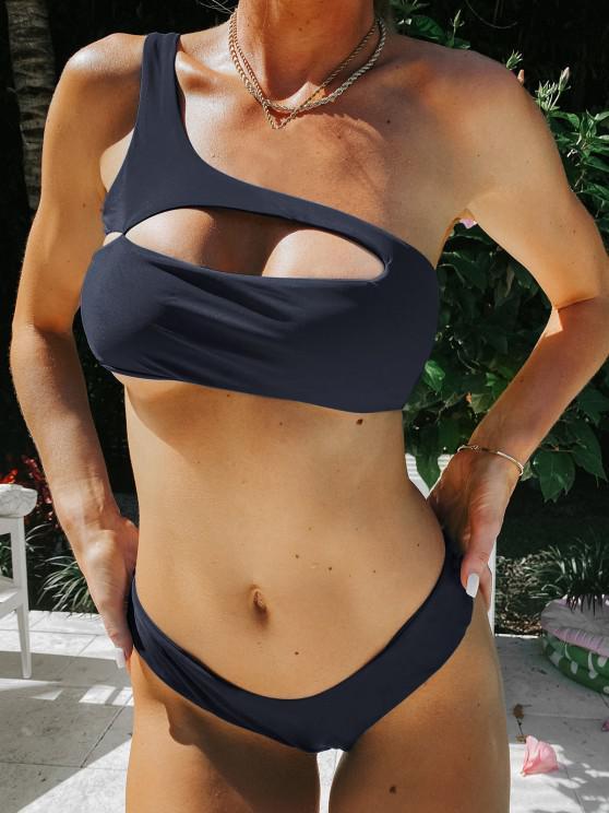 outfits ZAFUL One Shoulder Cut Out Bralette Bikini Set - MIST BLUE S