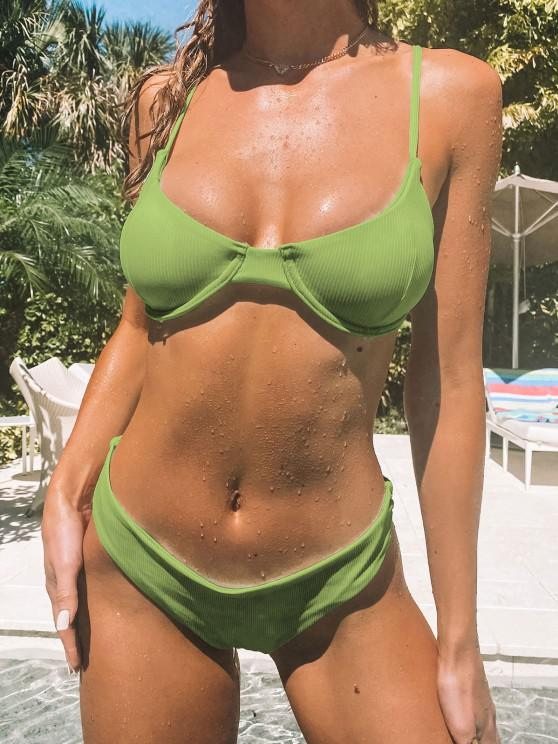 ZAFUL Wendbarer Bikini Badebekleidung mit Geripptem Bügel - Grüne Zwiebel M