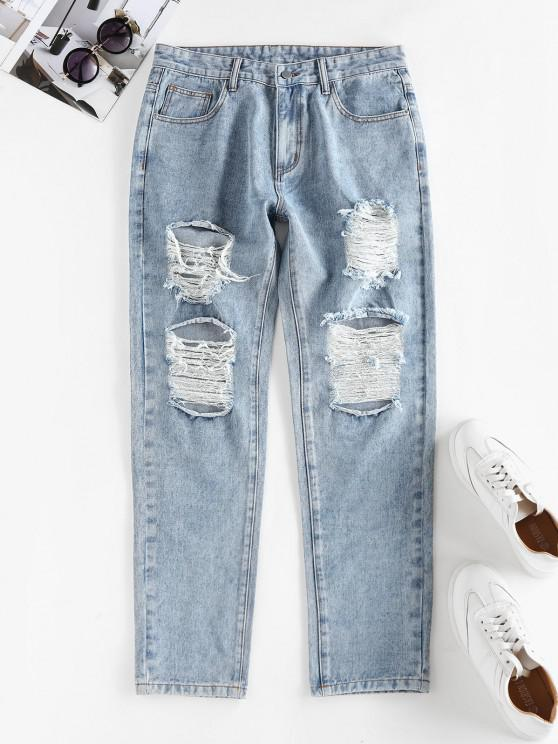 chic Ripped High Waisted Stovepipe Jeans - LIGHT BLUE L